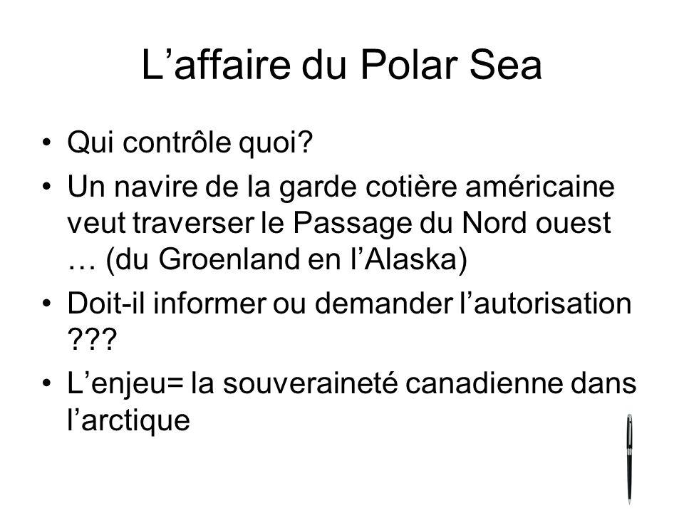 L'affaire du Polar Sea Qui contrôle quoi