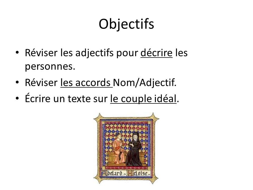 Objectifs Réviser les adjectifs pour décrire les personnes.