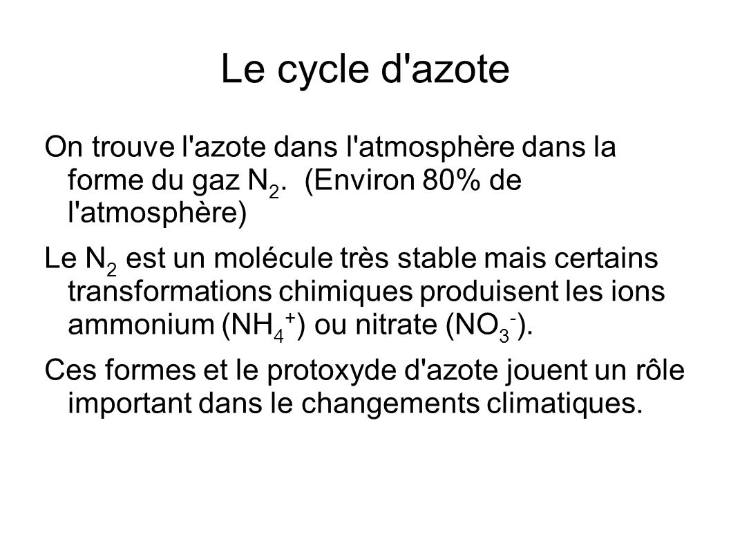 Le cycle d azoteOn trouve l azote dans l atmosphère dans la forme du gaz N2. (Environ 80% de l atmosphère)
