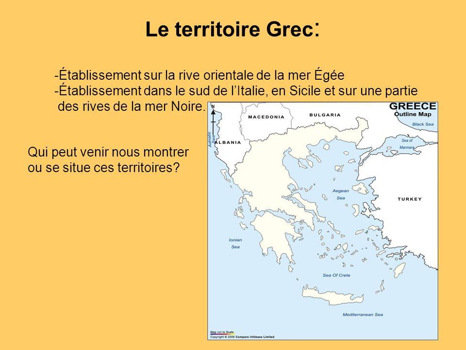 Le territoire Grec: Établissement sur la rive orientale de la mer Égée