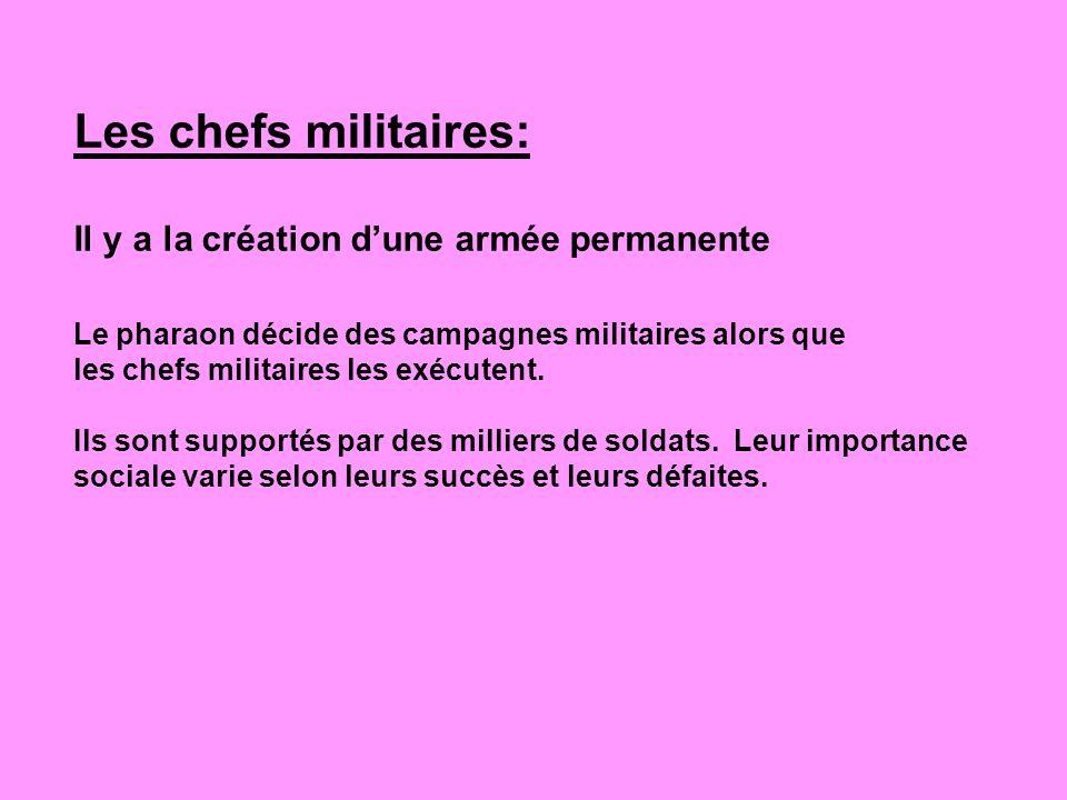 Les chefs militaires: Il y a la création d'une armée permanente