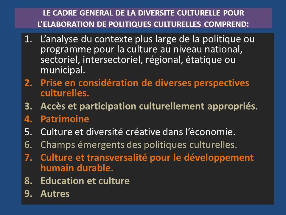 Prise en considération de diverses perspectives culturelles.