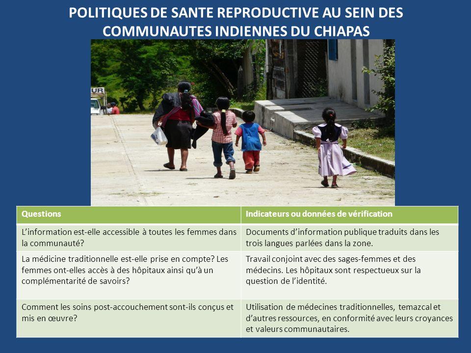 POLITIQUES DE SANTE REPRODUCTIVE AU SEIN DES COMMUNAUTES INDIENNES DU CHIAPAS