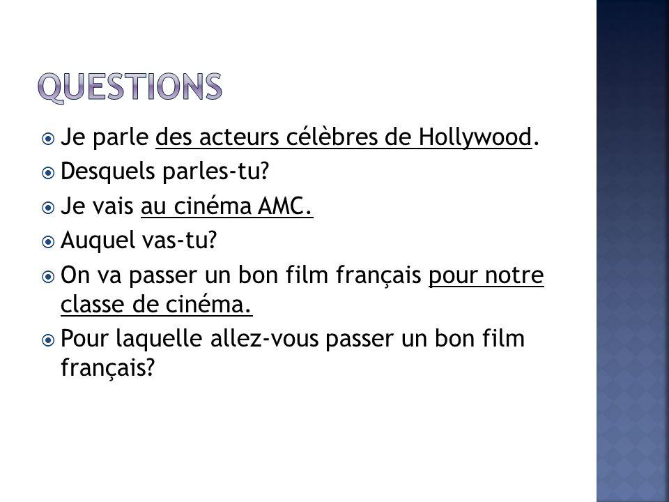 Questions Je parle des acteurs célèbres de Hollywood.