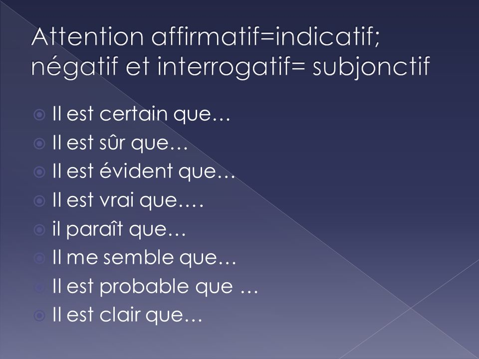 Attention affirmatif=indicatif; négatif et interrogatif= subjonctif