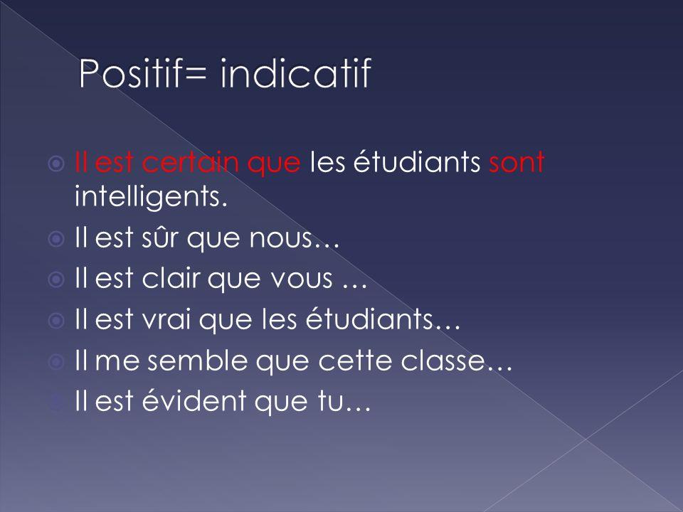Positif= indicatif Il est certain que les étudiants sont intelligents.