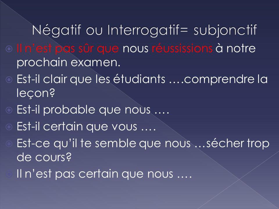 Négatif ou Interrogatif= subjonctif