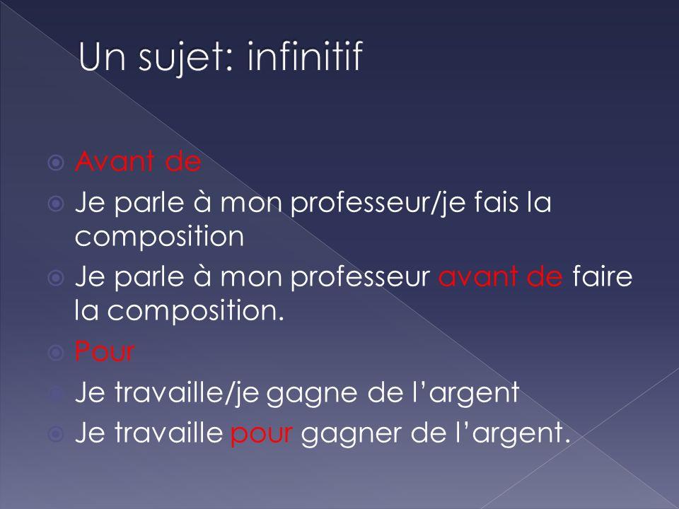 Un sujet: infinitif Avant de