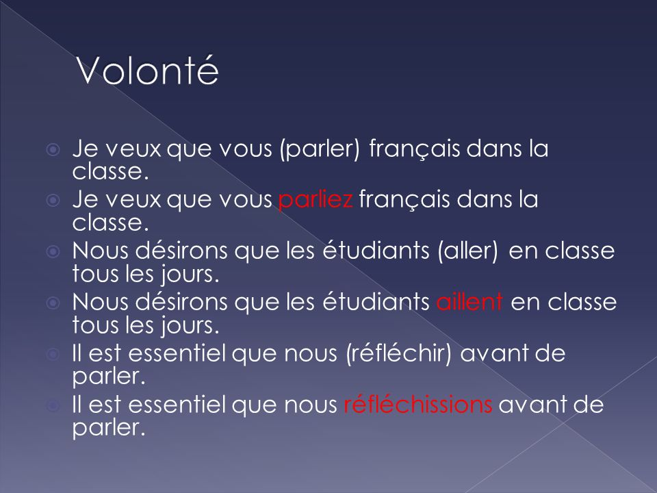 Volonté Je veux que vous (parler) français dans la classe.