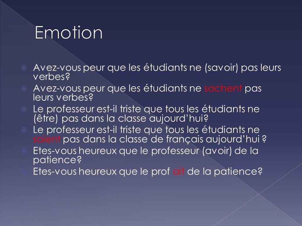 Emotion Avez-vous peur que les étudiants ne (savoir) pas leurs verbes