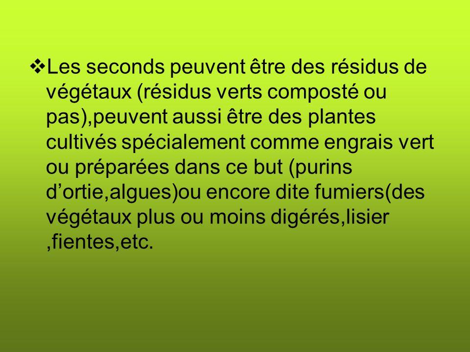 Les seconds peuvent être des résidus de végétaux (résidus verts composté ou pas),peuvent aussi être des plantes cultivés spécialement comme engrais vert ou préparées dans ce but (purins d'ortie,algues)ou encore dite fumiers(des végétaux plus ou moins digérés,lisier ,fientes,etc.