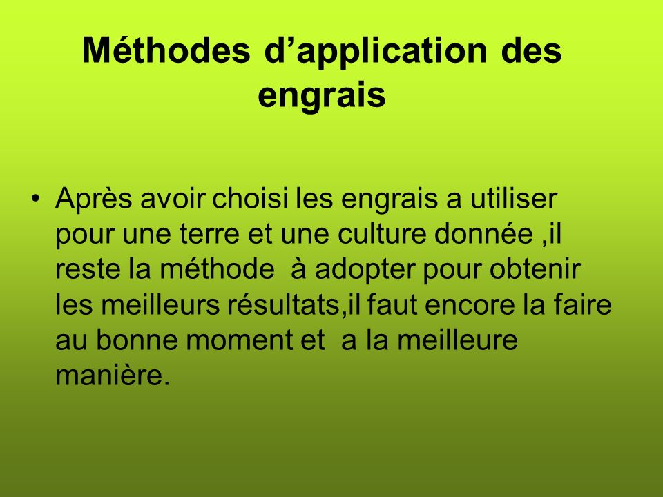 Méthodes d'application des engrais