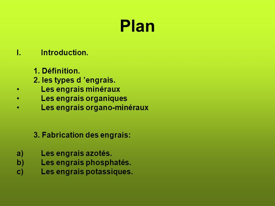 Plan Introduction. 1. Définition. 2. les types d 'engrais.
