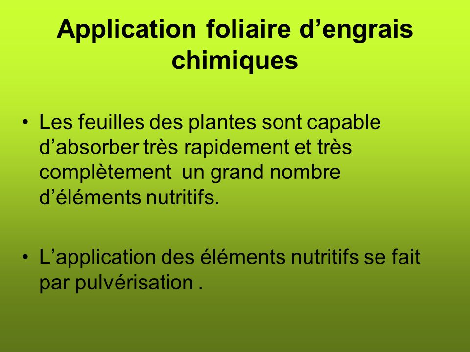 Application foliaire d'engrais chimiques