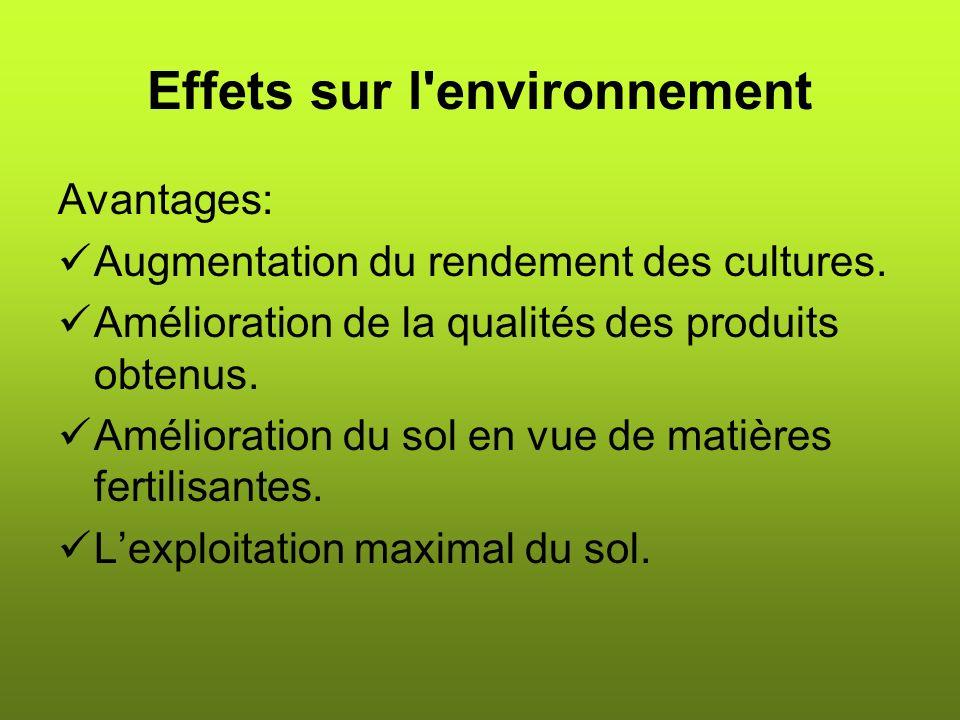 Effets sur l environnement
