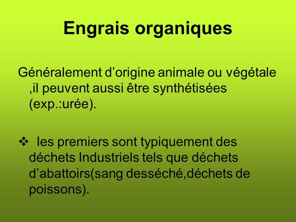 Engrais organiques Généralement d'origine animale ou végétale ,il peuvent aussi être synthétisées (exp.:urée).