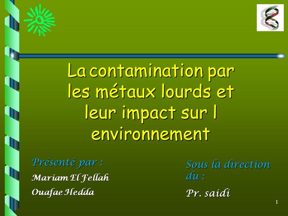 les métaux lourds et leur impact sur l environnement