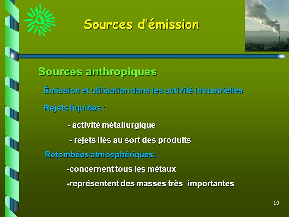 Sources d'émission Sources anthropiques