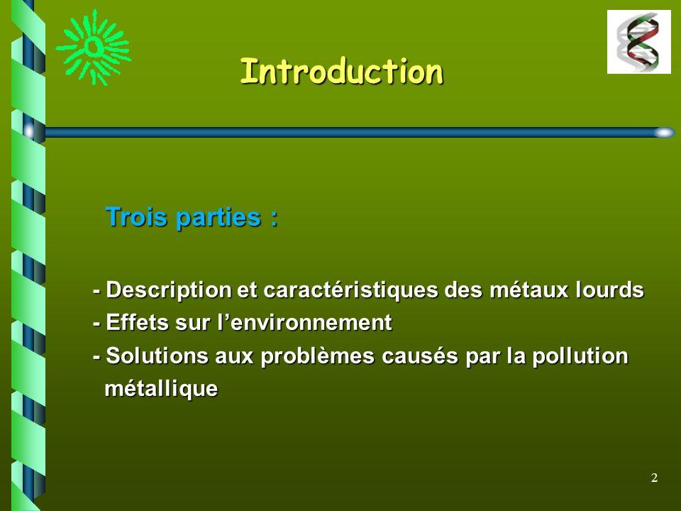 Introduction - Description et caractéristiques des métaux lourds
