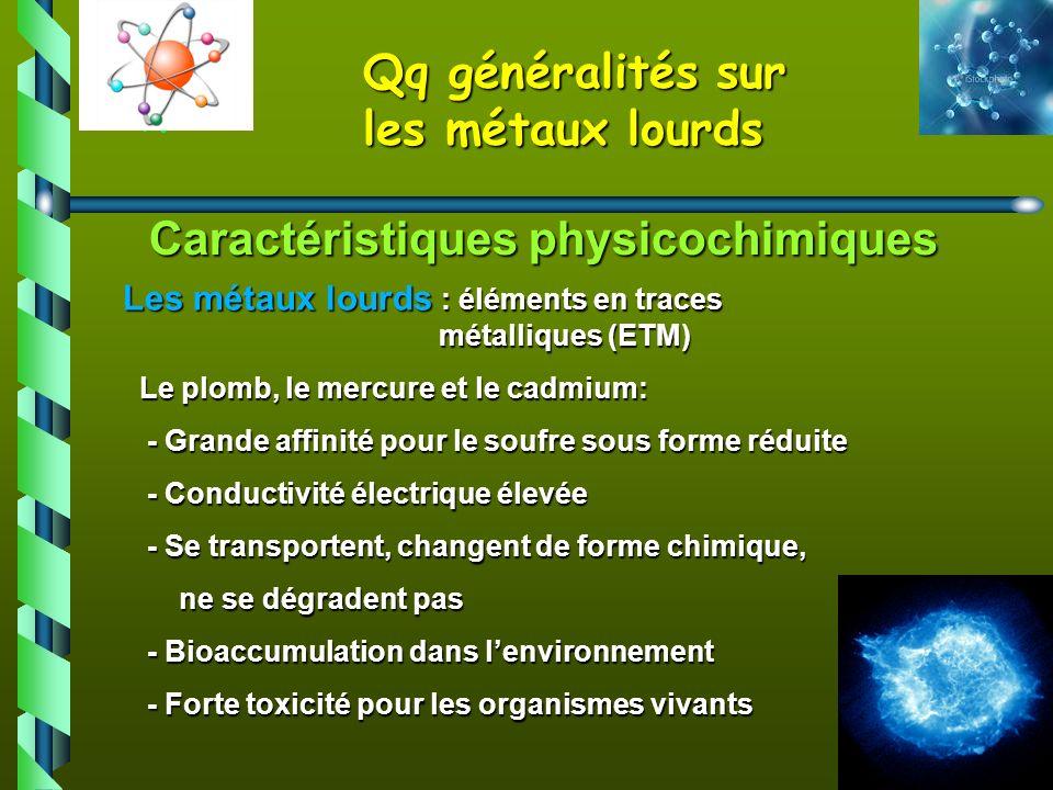 Caractéristiques physicochimiques