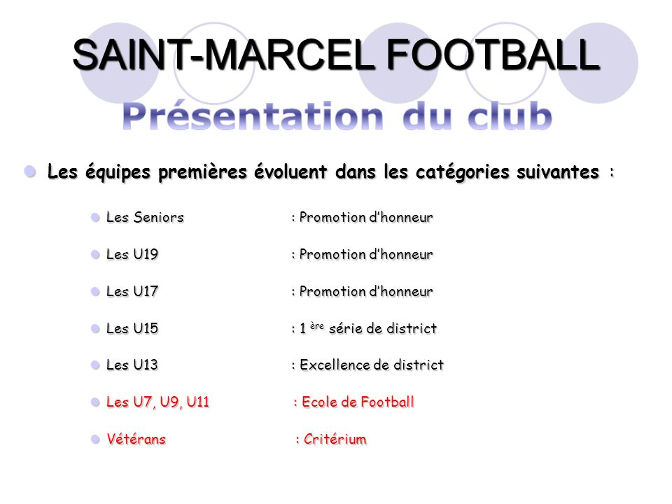 Présentation du club Les équipes premières évoluent dans les catégories suivantes : Les Seniors : Promotion d'honneur.