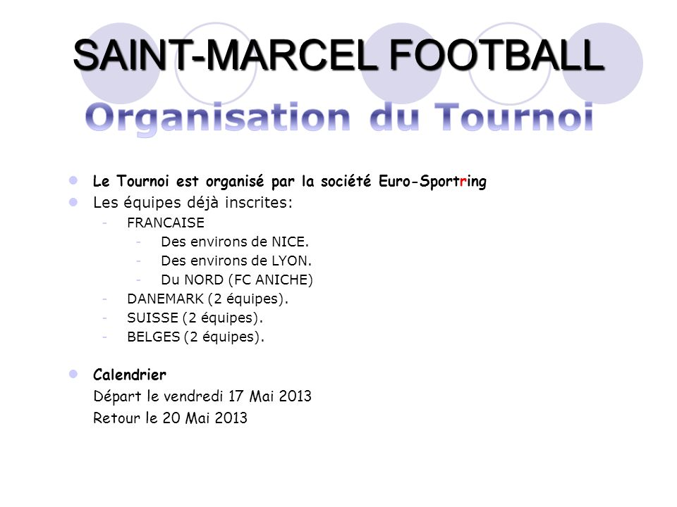 Organisation du Tournoi