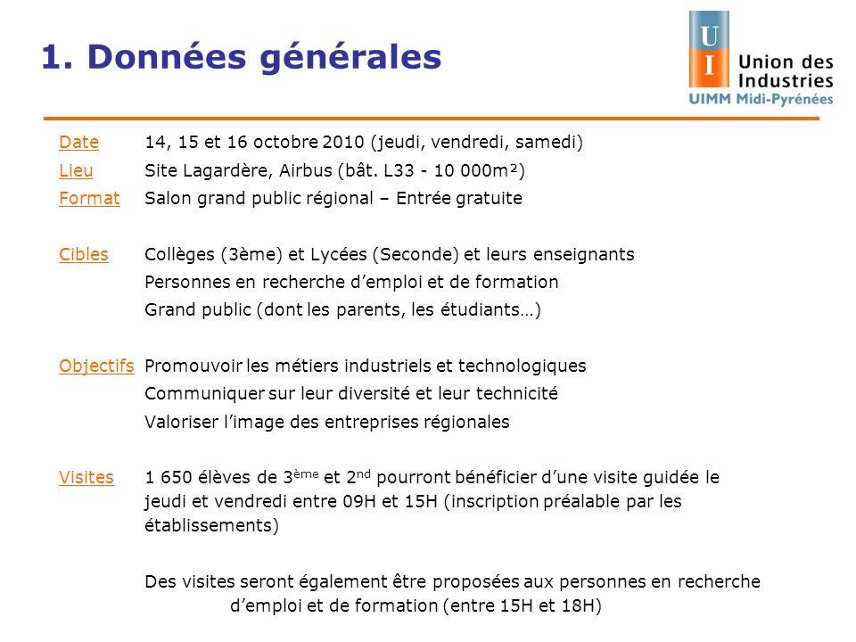 1. Données généralesDate 14, 15 et 16 octobre 2010 (jeudi, vendredi, samedi) Lieu Site Lagardère, Airbus (bât. L33 - 10 000m²)