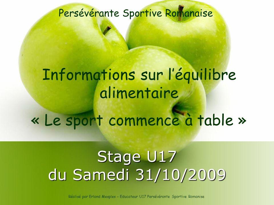 Informations sur l'équilibre alimentaire « Le sport commence à table »