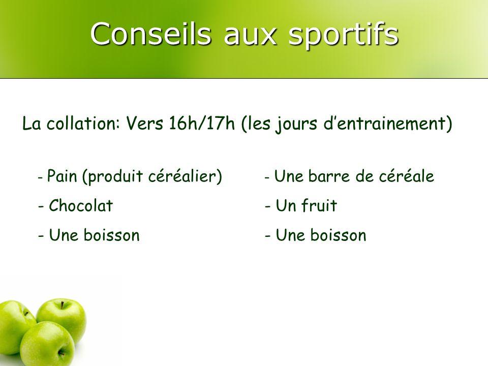 Conseils aux sportifs La collation: Vers 16h/17h (les jours d'entrainement) Pain (produit céréalier)