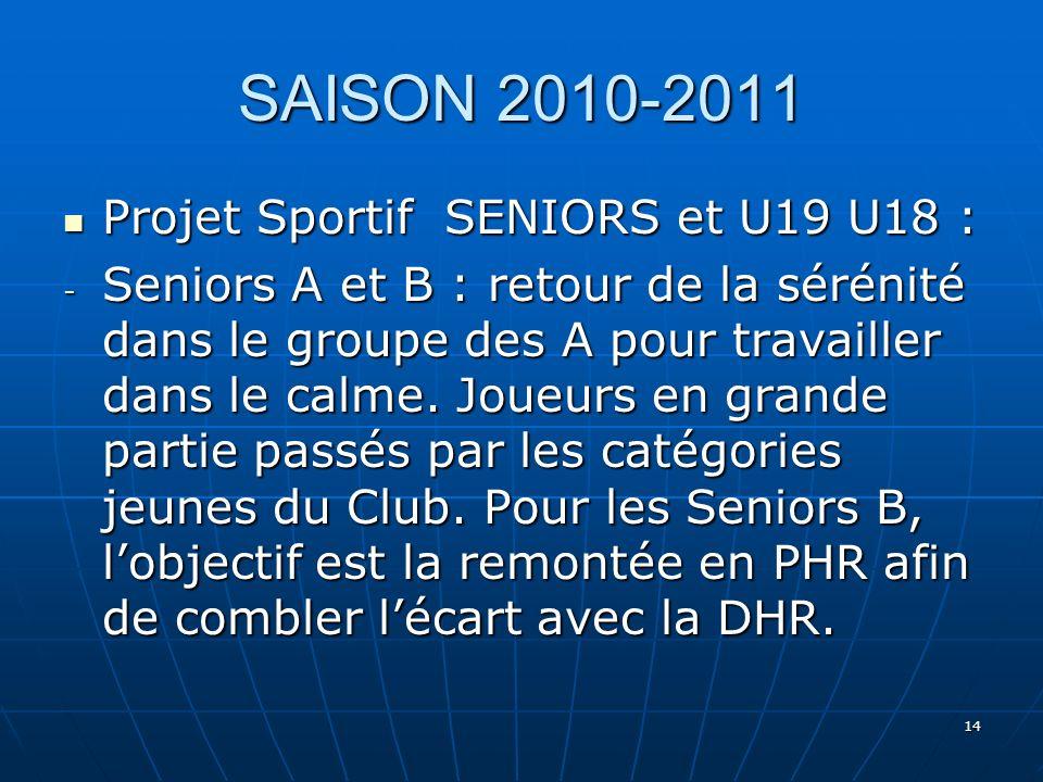 SAISON 2010-2011 Projet Sportif SENIORS et U19 U18 :