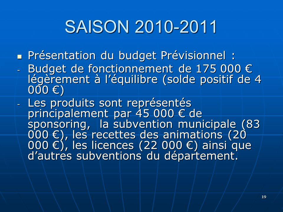 SAISON 2010-2011 Présentation du budget Prévisionnel :