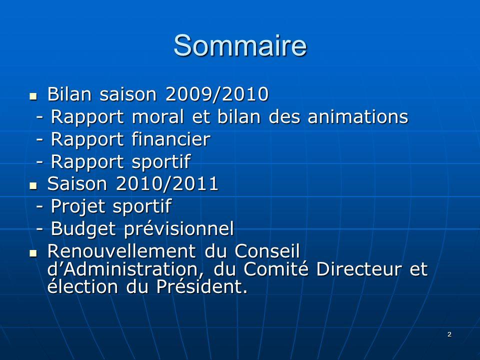 Sommaire Bilan saison 2009/2010