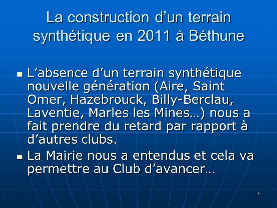 La construction d'un terrain synthétique en 2011 à Béthune