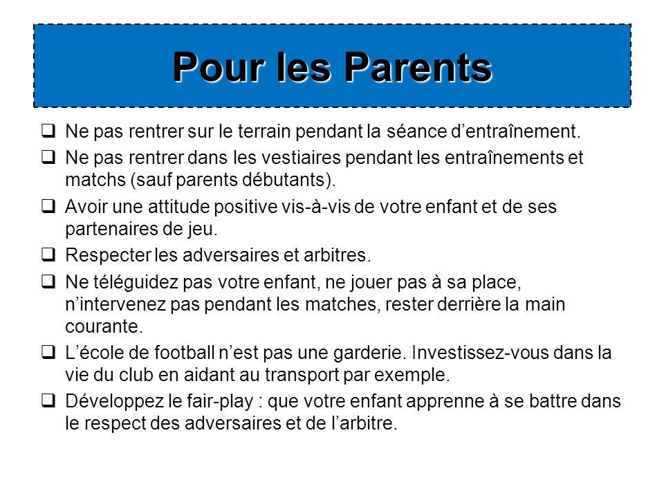 Pour les Parents Ne pas rentrer sur le terrain pendant la séance d'entraînement.