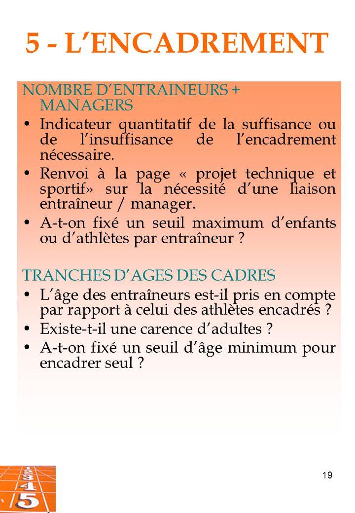 5 - L'ENCADREMENT NOMBRE D'ENTRAINEURS + MANAGERS
