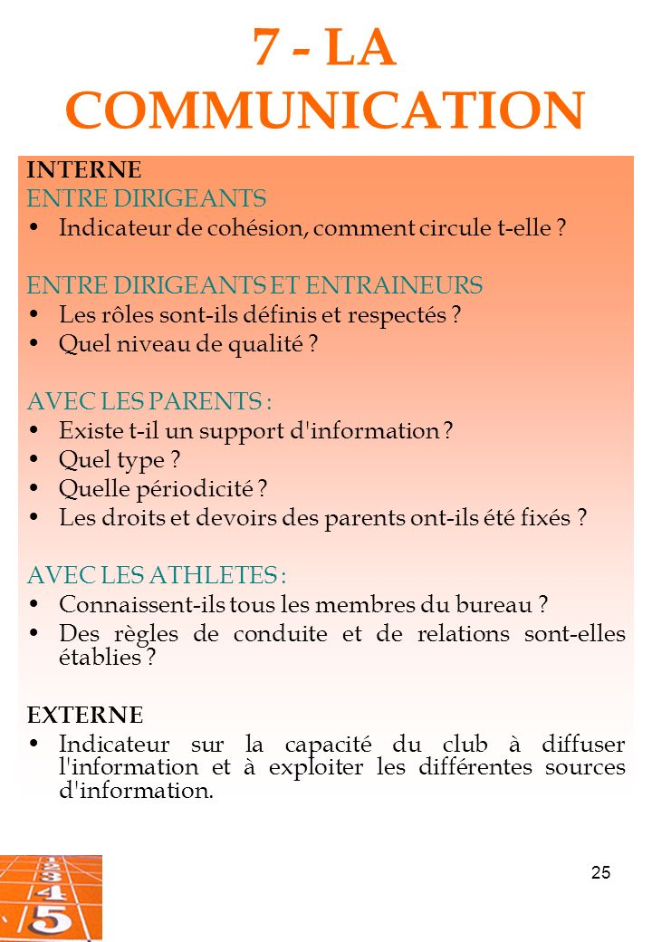 7 - LA COMMUNICATION INTERNE ENTRE DIRIGEANTS