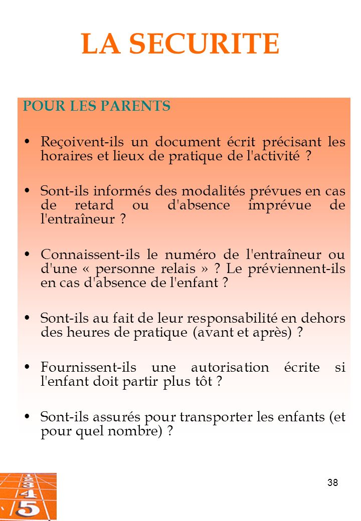 LA SECURITE POUR LES PARENTS