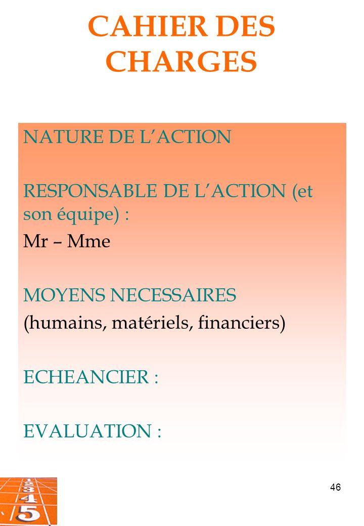 CAHIER DES CHARGES NATURE DE L'ACTION