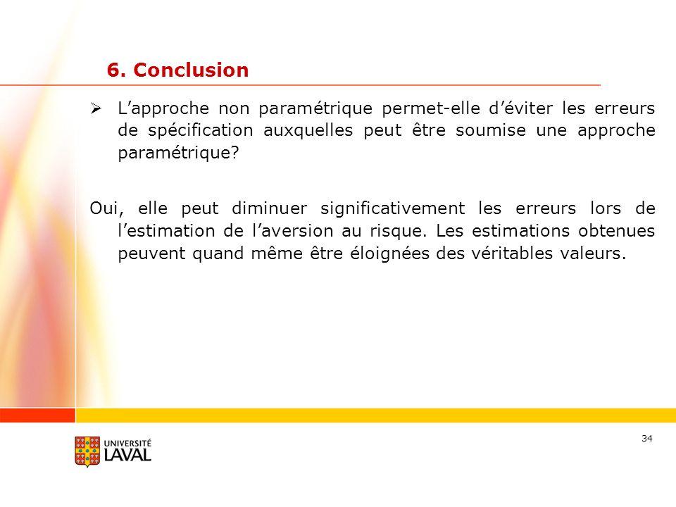 6. Conclusion L'approche non paramétrique permet-elle d'éviter les erreurs de spécification auxquelles peut être soumise une approche paramétrique