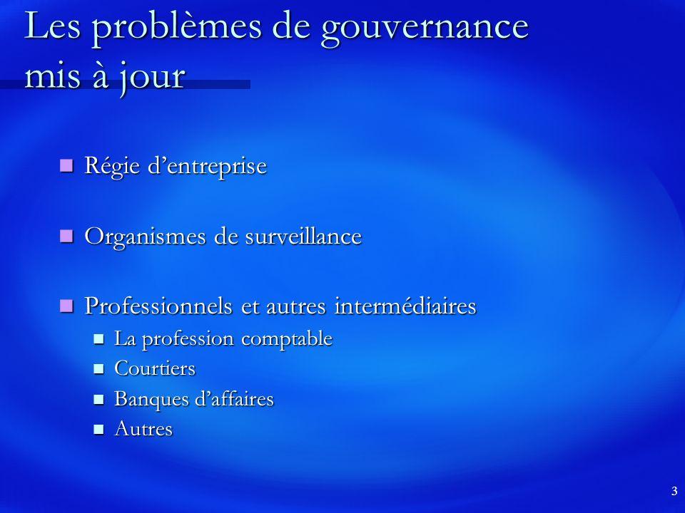 Les problèmes de gouvernance mis à jour
