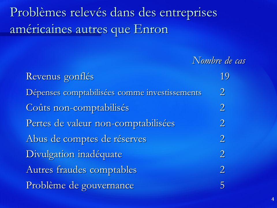 Problèmes relevés dans des entreprises américaines autres que Enron