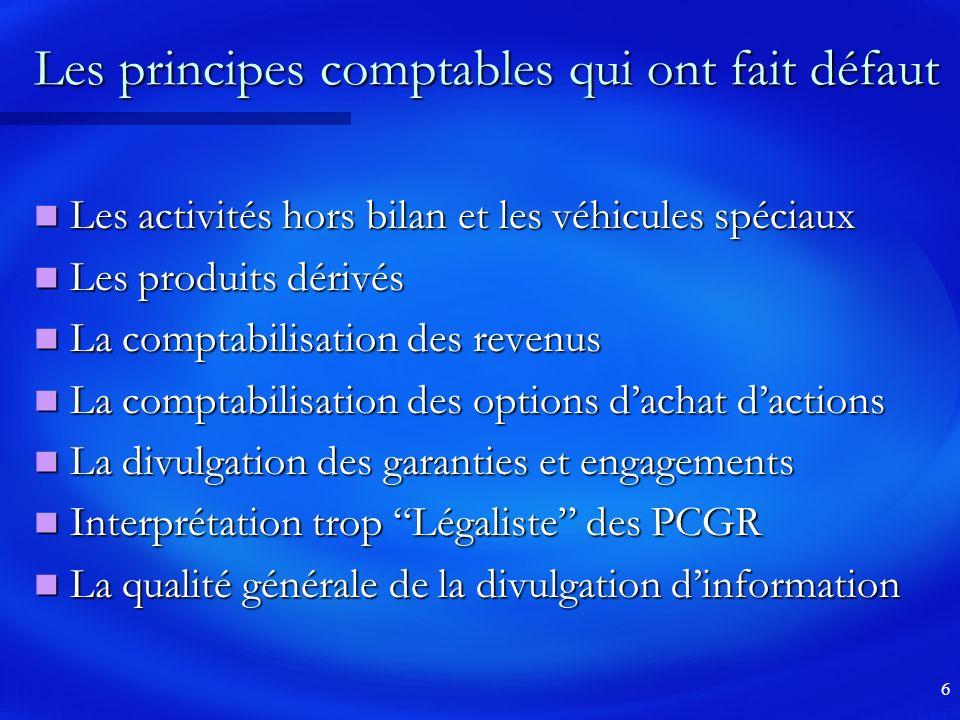 Les principes comptables qui ont fait défaut