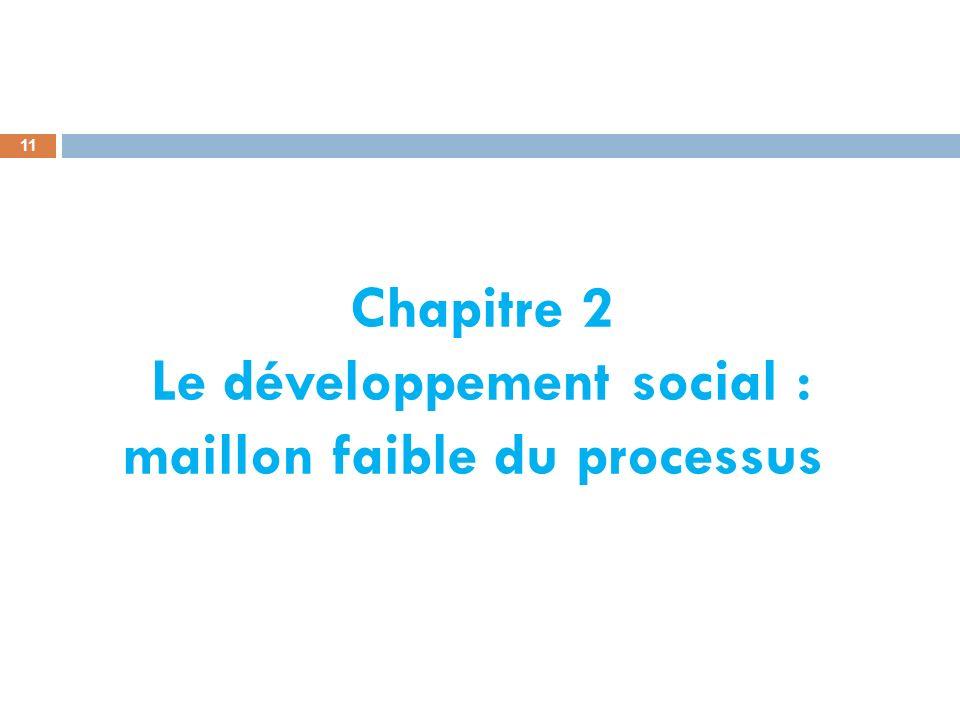 Chapitre 2 Le développement social : maillon faible du processus