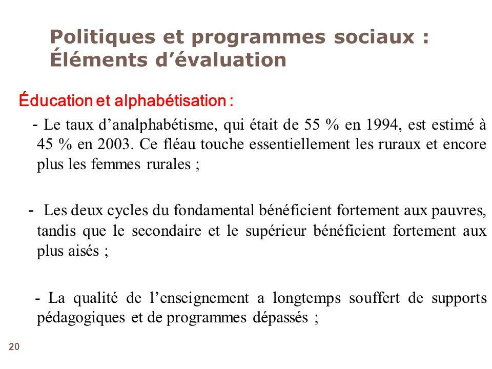Politiques et programmes sociaux : Éléments d'évaluation