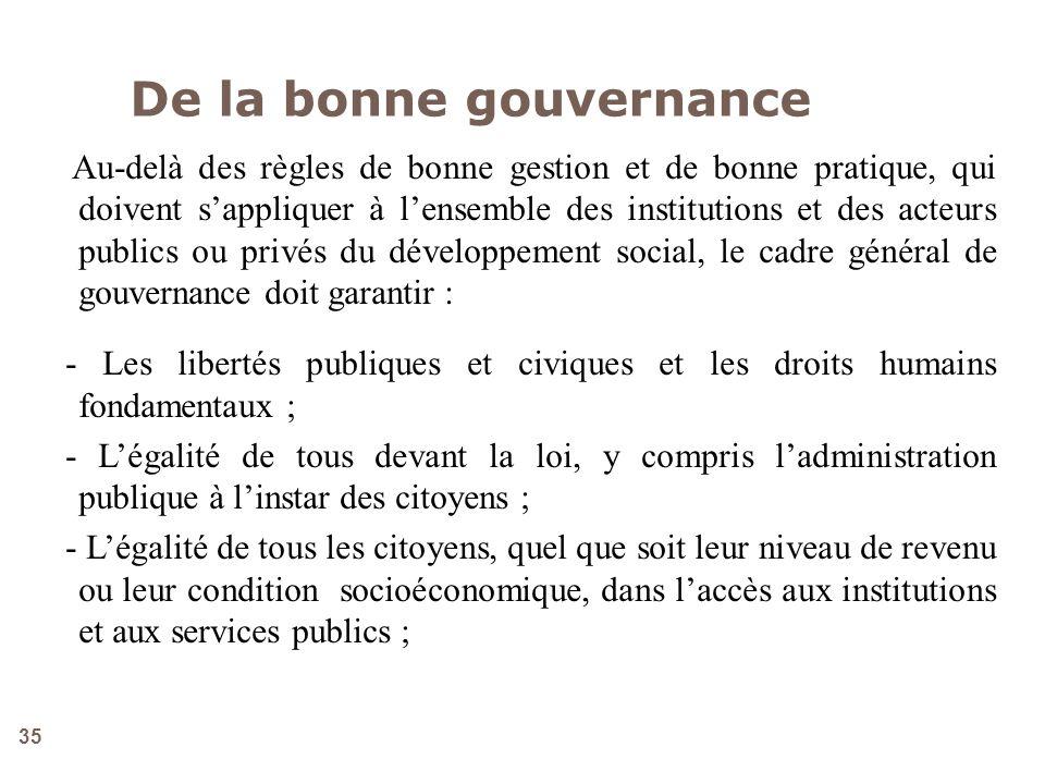De la bonne gouvernance