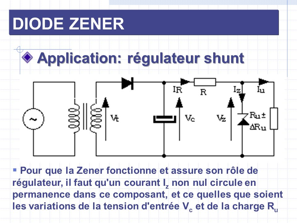DIODE ZENER Application: régulateur shunt