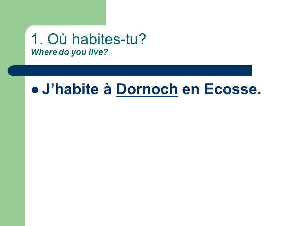 1. Où habites-tu Where do you live