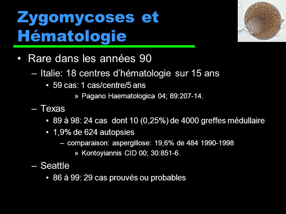 Zygomycoses et Hématologie