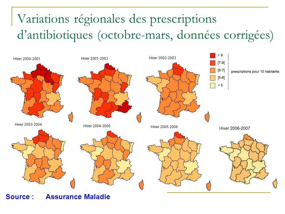 Variations régionales des prescriptions d'antibiotiques (octobre-mars, données corrigées)