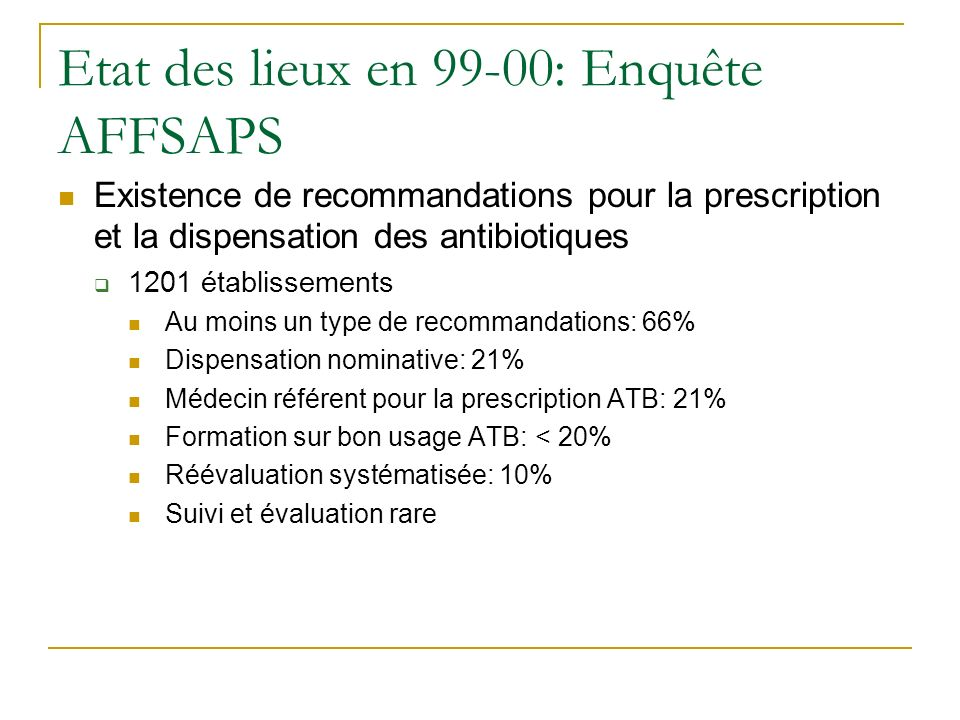 Etat des lieux en 99-00: Enquête AFFSAPS
